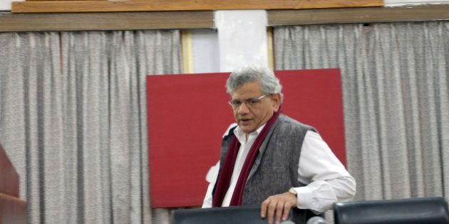KOLKATA, INDIA - DECEMBER 26: CPI (M) Party General Secretary Sitaram Yechury arrives for a press conference...