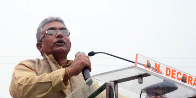 KOLKATA, INDIA - 2015/11/30: Dilip Ghosh addressing the crowd during the mega rally organized by Uthan...