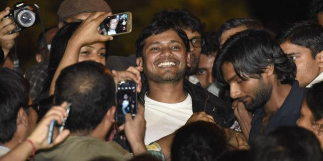 NEW DELHI, INDIA - MARCH 3: JNUSU president Kanhaiya Kumar addressing JNU students after his release...