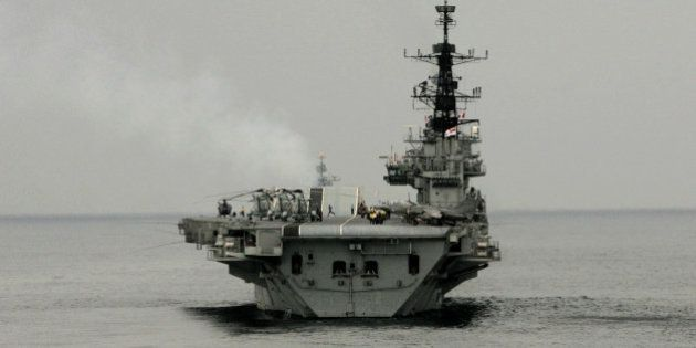 Indian navy aircraft carrier INS Viraat sails during the India-US joint naval exercise in the Arabian...