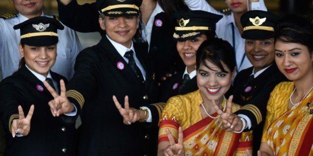 NEW DELHI, INDIA - MARCH 5: All Women Crew members of Air India's historic flight AI 173 (Del to SFO)...