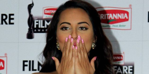 Indian Bollywood actress Sonakshi Sinha attends the announcement for the 61st Britannia Filmfare Awards...