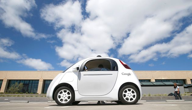 WATCH: Shocked Driver Reacts As A Driverless Google Car Hits His