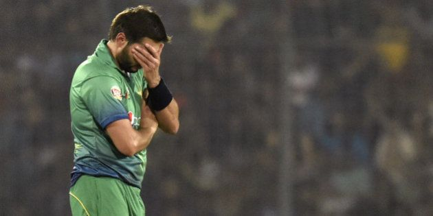 Pakistan cricket captain Shahid Afridi reacts during the Asia Cup T20 cricket tournament match between...