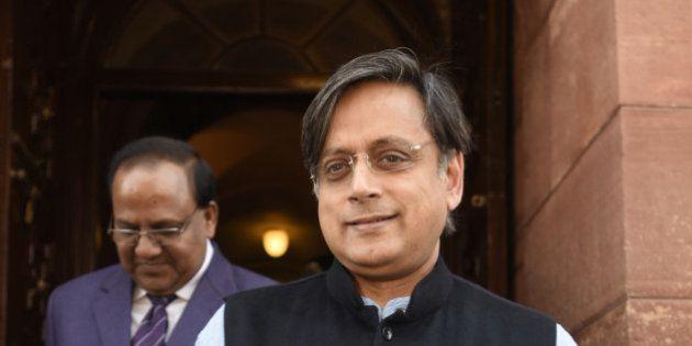 NEW DELHI, INDIA - FEBRUARY 23: Shashi Tharoor, Member of Parliament from Thiruvananthapuram, during...