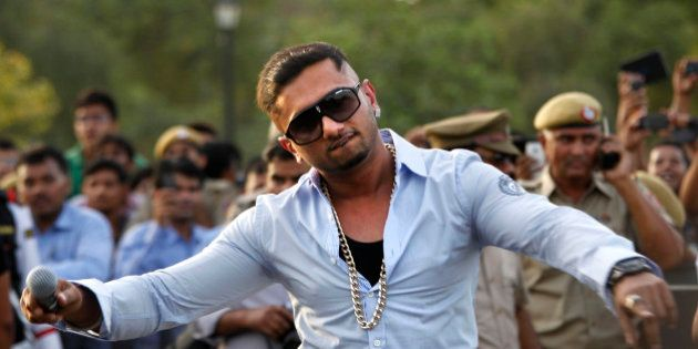 Indian rap singer Honey Singh performs during a show by stunt riders of Red Bull X-Fighters in New Delhi,...