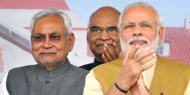 PATNA, INDIA - MARCH 12: Prime Minister Narendra Modi with Bihar Chief Minister Nitish Kumar during the...