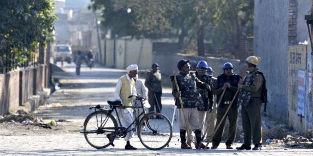 PANIPAT, INDIA - FEBRUARY 22: Heavy police force and Army jawan deployed at village Siwah after Jat agitation...
