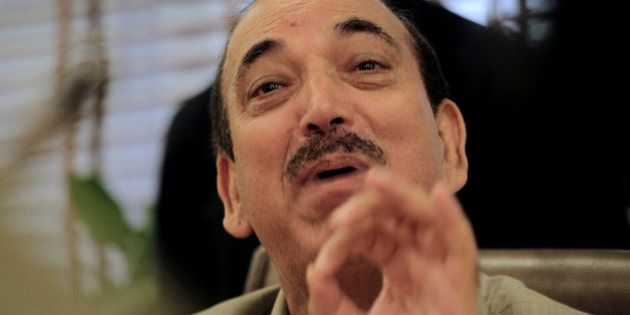 Indian Health Minister Ghulam Nabi Azad speaks during a press conference in New Delhi, India, Tuesday,...