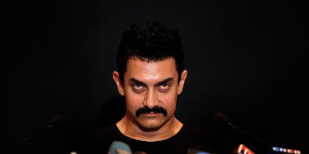Bollywood actor Aamir Khan attends a press conference to