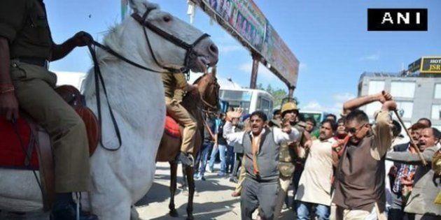 BJP MLA Violently Thrashes Police Horse, Cripples