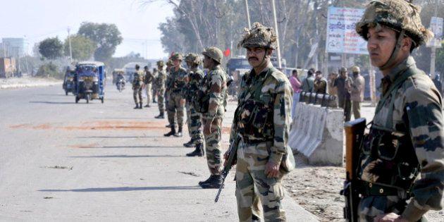 PANIPAT, INDIA - FEBRUARY 22: Army jawans deployed at village Siwah after Jat agitation turned violent...