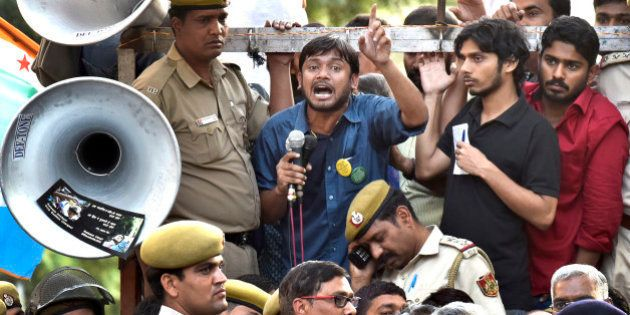 NEW DELHI, INDIA - MARCH 15: JNUSU President Kanhaiya Kumar speaks the gathering after the march from...