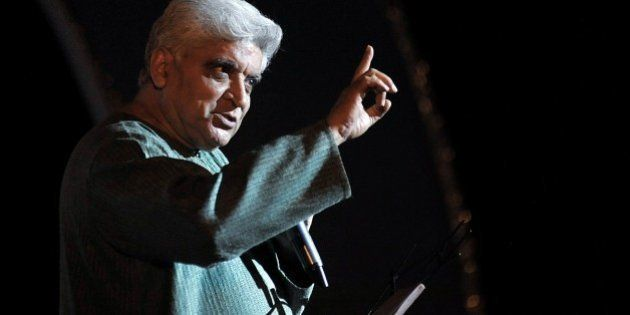 Indian poet, lyricist and scriptwriter, Javed Akhtar performs at the Indian legendary Hindi and Marathi...