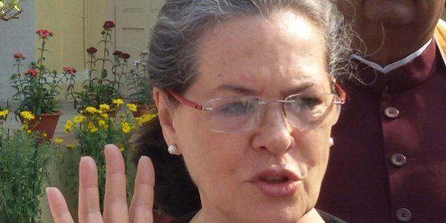 ALLAHABAD, UTTAR PRADESH, INDIA - 2016/02/13: Congress President Sonia Gandhi greets the people during...
