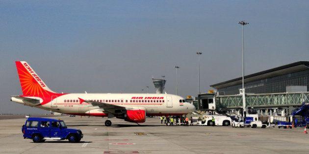 HYDERABAD, INDIA - DECEMBER 19: Air India aircraft at Hyderabad Airport on December 19, 2012 in Hyderabad,...