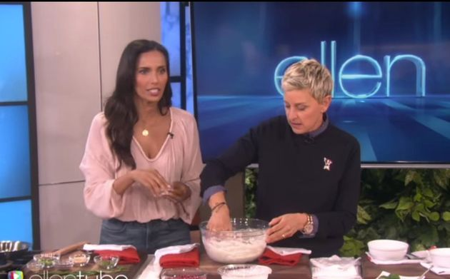 WATCH: Padma Lakshmi Just Taught Ellen DeGeneres How To Make Curd