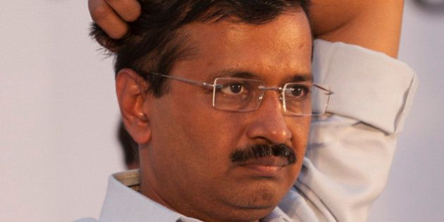Delhi state Chief Minister Arvind Kejriwal and leader of Aam Aadmi Party, or Common Man's Party attends...