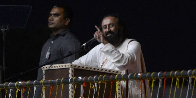 Spiritual leader Sri Sri Ravi Shankar speaks on the first day of the three-day World Culture Festival...