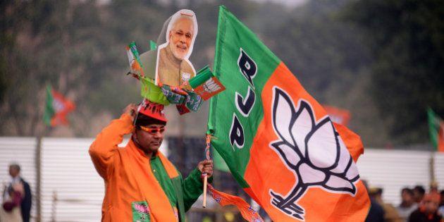 NEW DELHI, INDIA - FEBRUARY 03: PM Narendra Modi's Election Rally in Rohini for Delhi Assembly Elections...