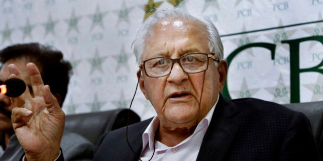 Pakistan Cricket Board Chairman Shahryar Khan, speaks during a press conference in Lahore, Pakistan ,...