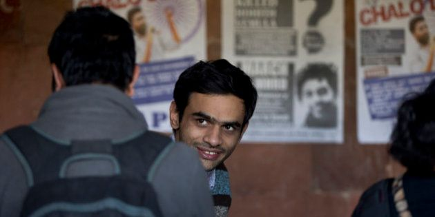 Umar Khalid, a student leader of Jawaharlal Nehru University (JNU) appears at the campus, along with...