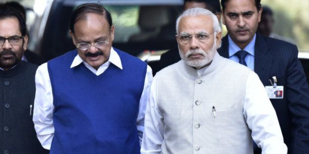 NEW DELHI, INDIA - FEBRUARY 23: Prime Minister Narendra Modi with Parliamentary Affairs Minister M. Venkaiah...