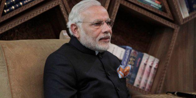 Indian Prime Minister Narendra Modi talk with Afghan Chief Executive Abdullah Abdullah during a meeting...