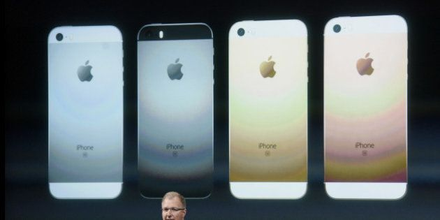 Greg Joswiak, vice president of iPod, iPhone, and iOS product marketing for Apple Inc., announces the...