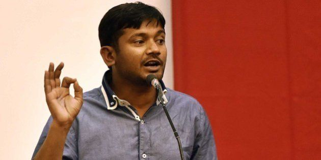 NEW DELHI, INDIA - MARCH 20: JNU Students' Union President Kanhaiya Kumar speaks during a Public Symposium,...