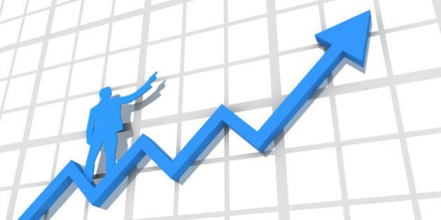 A 3d rendered blue arrow trending upwards on a blank line chart with a silhouetted blue businessman standing...
