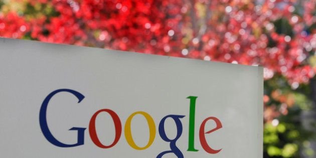 FILE - In this Nov. 10, 2010 file photo, the company logo is displayed is at Google headquarters in Mountain...