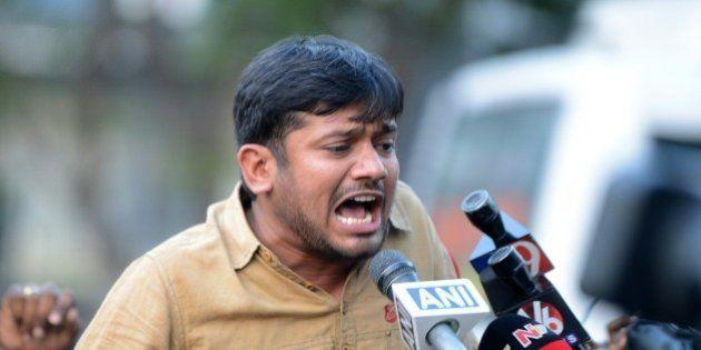 Student leader of India's Jawaharlal Nehru University (JNU)Kanhaiya Kumar speaks to the media at Hyderabad...