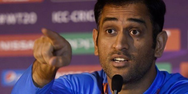 KOLKATA, INDIA - MARCH 8: Indian captain MS Dhoni holds his pre-tournament ICC T20 World Cup 2016 press...