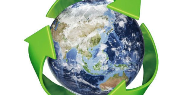 A 3D Rendering of Earth surrounded by the recycle symbol with Clipping