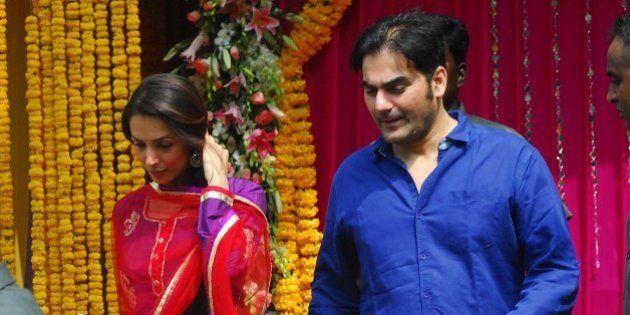 MUMBAI, INDIA - SEPTEMBER 10: Arbaaz Khan with wife Malaika Arora Khan during Ganpati immersion ceremony...