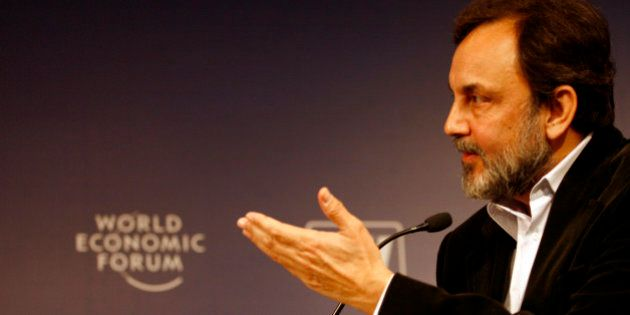 INDIA - DECEMBER 03: Prannoy Roy, chairman of NDTV, speaks during a session of the India Economic Summit...