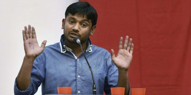 NEW DELHI, INDIA - MARCH 20: JNU Students' Union President Kanhaiya Kumar speaks during a Public Symposium,...