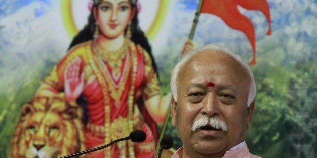 NEW DELHI, INDIA - NOVEMBER 22: Rashtriya Swayamsevak Sangh (RSS) Chief Mohan Bhagwat speaks during the...