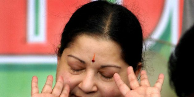 All India Anna Dravida Munnetra Kazhagam (AIADMK) party chief Jayalalitha gestures during a hunger strike...