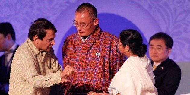 KOLKATA, INDIA - JANUARY 8: Prime Minister of Bhutan Tshering Tobgay, West Bengal Chief Minister Mamata...