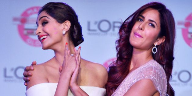 MUMBAI,INDIA APRIL 25: Katrina Kaif and Sonam Kapoor at the unveiling of LOreal Pariss new Cannes collection...