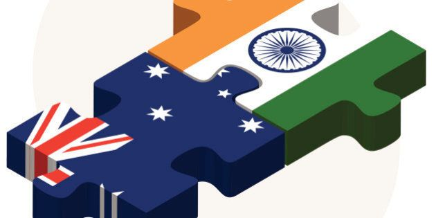 Vector Image - Australia and India Flags in puzzle isolated on white