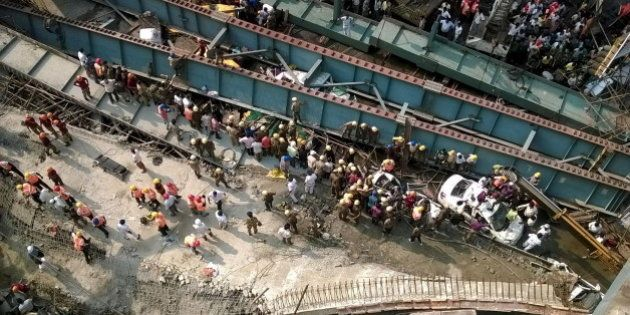 A general view of the collapsed flyover in Kolkata, India, March 31, 2016. REUTERS/Rupak De