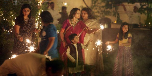 MUMBAI, INDIA NOVEMBER 03: Rani Mukherjee celebrates diwali with Aditya Chopra at the Yashraj bungalow...