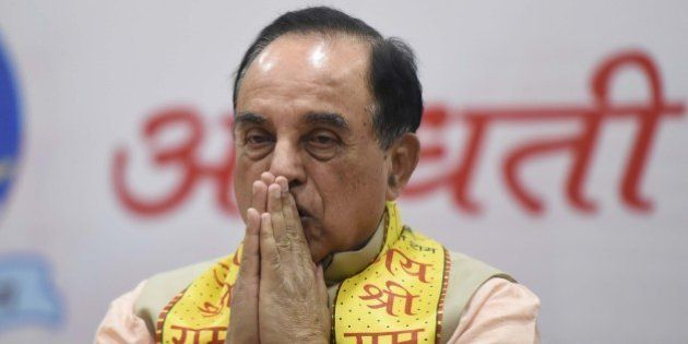 NEW DELHI, INDIA - JANUARY 9: BJP leader Subramanian Swamy during a seminar on the construction of Ram...