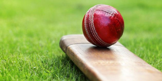 Cricket ball resting on a cricket bat on green grass of cricket