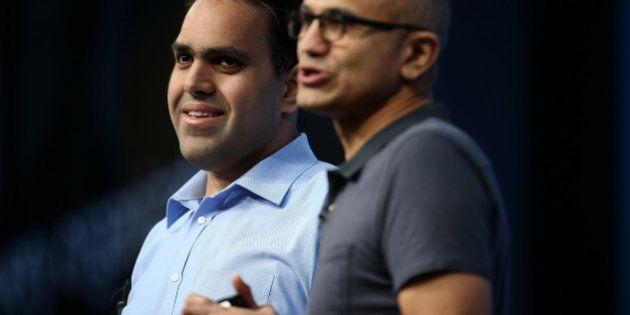 SAN FRANCISCO, CA - MARCH 30: Visually impaired Microsoft developer Saqib Shaikh (L) stands next to Microsoft...
