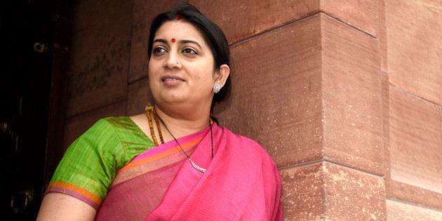 NEW DELHI, INDIA - MARCH 2: Minister of Human Resource Development Smriti Zubin Irani leaves Parliament...