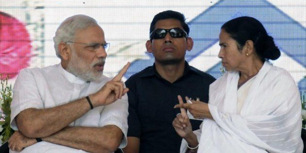 ASANSOL, INDIA - MAY 10: Prime Minister Narendra Modi and Chief Minister Mamata Banerjee during the inauguration...